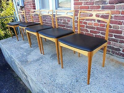Set Of 5 Vintage Mid Century Danish Modern Oak Dining Chairs Moller Eames Era