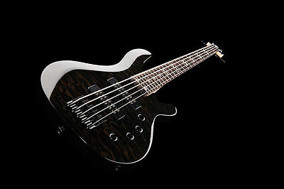 NEW 5 String Electric Bass Guitar With Active Pick ups Quilted Black
