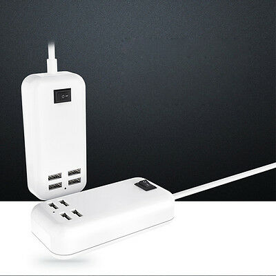4Port USB Desktop Multi Fast Wall Charger Station AC Power Adapter W/ Switch UK