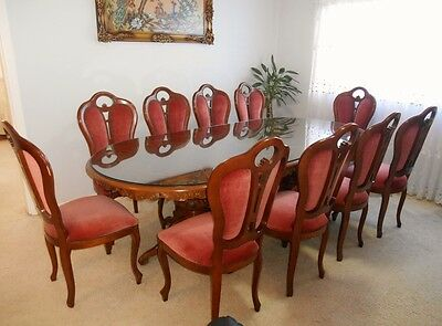 Italian Wood Dining Table with Tempered Glass and Chairs - 12 pieces set