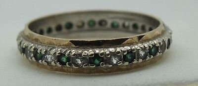Vintage 9ct gold emerald and diamond eternity ring. Size Q.