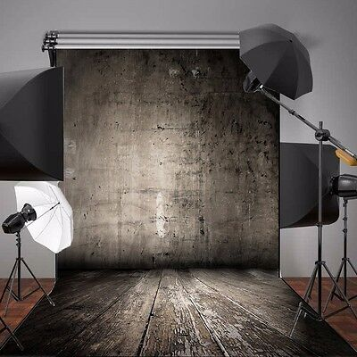 5x7FT Vinyl Shabby Wall Wooden Floor Photo Backdrops Photography Background US