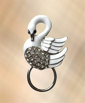 NEW Crystal White Swan Glasses Spectacle Brooch Hanger Pin Holder Magnetic Back