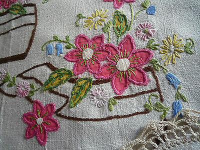 vintage 1950s hand embroidered linen doily trio ~ vintage applique Dutch clogs
