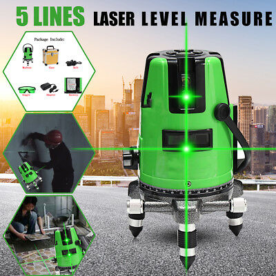 3D Green Laser Level 5 Line Self Leveling Outdoor 360° Rotary Cross Measure Tool