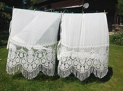 Large Pair Old Vintage Off White Curtains