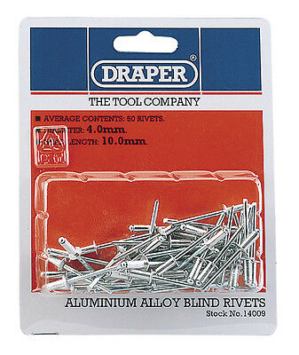 Genuine DRAPER 50 x 4mm x 10mm Blind Rivets | 14009