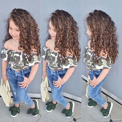 Kids Toddler Baby Girl Off Shoulder Camouflage T-Shirt Tops+Jeans Pants 2PCS/Set
