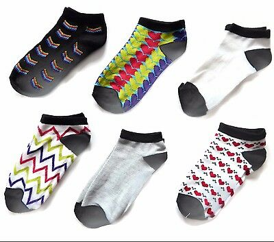6 Pairs Kids Low Cut Ankle Novelty Socks Size 6 - 8 Multi-color Prints Solid NWT