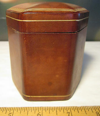 Vintage Genuine Brown Leather Florence Italy Jewelry Trinket Box 6 sided gold