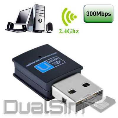 300Mbps USB Wifi Wireless Adapter Dongle USB2.0 Network Card for PC Laptop Black