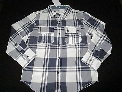 Boys Pumpkin Patch check long sleeve shirt   Size 6   navy/white