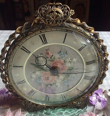 Vintage Petit Point Circular Embroidered Dressing Table Clock - not working