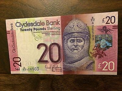 Clydesdale Bank £20 Twenty Pound Note - Robert the Bruce, EZZ426503.