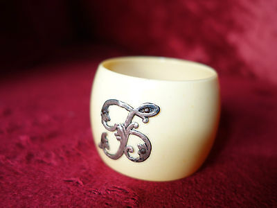 Antique Art Nouveau Ivorine very early celluloid silver monogrammed napkin ring