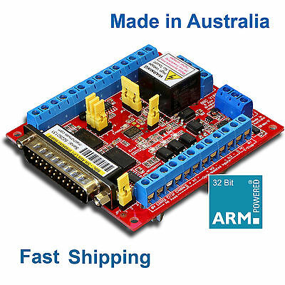 6 Axis Breakout Board w/DIN Mount + VFD Mach3 CNC Stepper Servo - Machdrives AU
