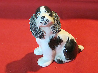 Vintage porcelain Springer Spaniel spaghetti ears dog figurine, black & white