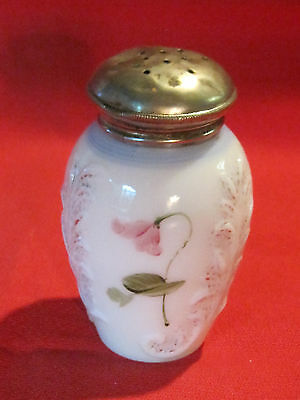 Victorian hand painted milk glass shaker muffineer, floral & raised design