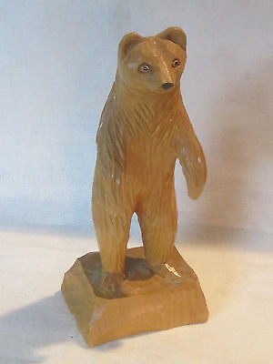 Vintage hand carved wooden bear figurine from Canada