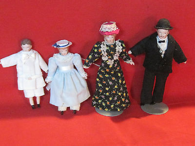 Bisque Victorian style 1:12 dollhouse doll family, father, mother, boy & girl