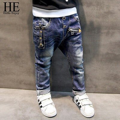 HE Hello Enjoy Boys Pants Jeans Children's Denim Trousers Kids Dark Blue Pants