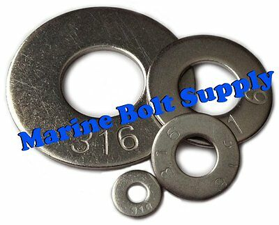 "Type 316 Stainless Steel Flat Washers (Sizes #4 to 1/2"")"