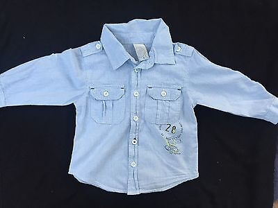 Boys Target Button Up Shirt Light Blue Size 1