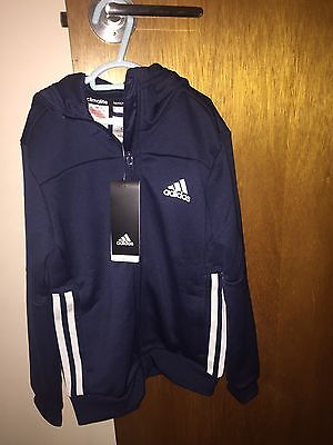BRAND NEW BOYS BLUE ADIDAS ZIP CLIMALITE HOODY / ZIP JACKET  SIZE 7-8yrs