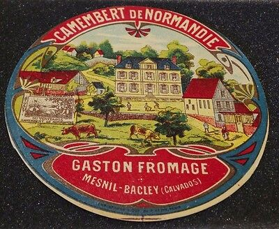 Ancienne étiquette de fromage Camembert Gaston Fromage à Mesnil-Bacley 14  NEW35