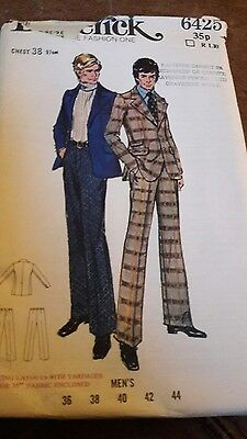 """mens 1970's hipster suit dressmakers pattern Butterick  chest 38"""""""