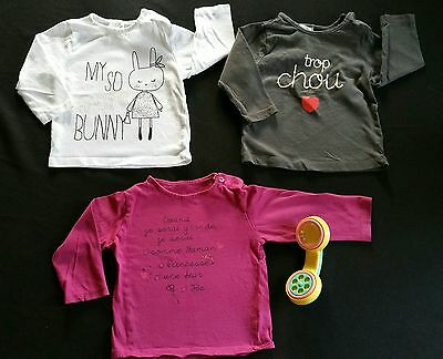 ♡ fille 12mois mi-saison ♡ lot 3 t-shirts leger