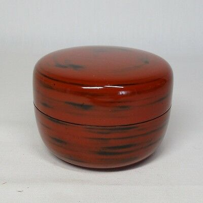 A053: Japanese NEGORO lacquerware powdered tea container NATSUME