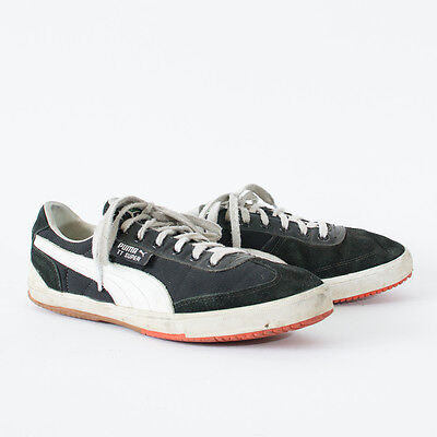 True Vintage 90's Puma Trainers Laced Sneakers Black Suede Leather Men's UK 8