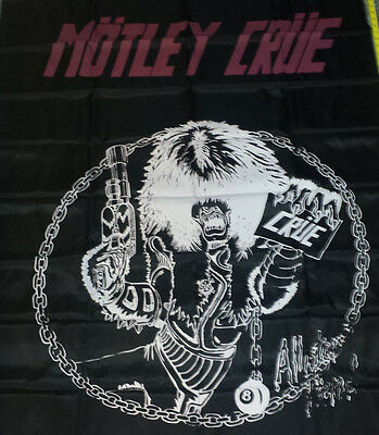 Motley Crue: HUGE banner,tapestry,flag 56x44 NEW (80's silk screen)