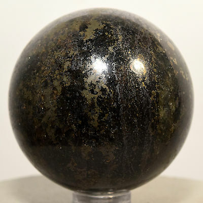 """2"""" Black Tourmaline w/ Golden Pyrite Crystal Mineral Sphere Ball - China + Stand"""