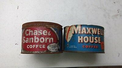 Maxwell House & Chase & Sanborn Coffee Can Old Vintage Collectable Two For One