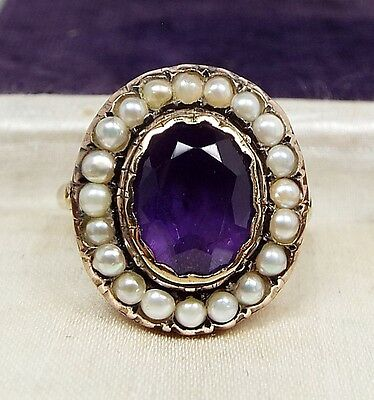 Antique Georgian Victorian 9ct Gold Amethyst and Pearl Cluster Ring / Size O