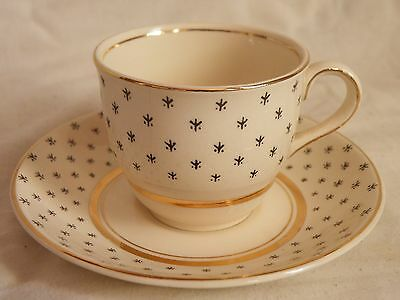 Cup and Saucer. John Maddock Ivoryware, Gold, Ivory & Black Patterned 1945-55