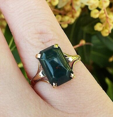 Vintage / Edwardian 9ct Yellow Gold Cabochon Bloodstone Green Agate Ring Size L