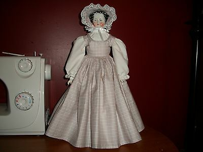 "antique style sleeveless china head doll dress / blouse & bonnet 16"" to 18"""