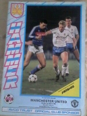 Manchester united v West ham 1985/86 very good condition fa cup 5th round away