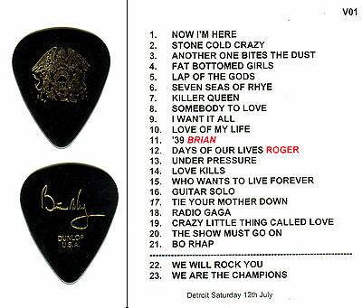 Guitar Pick - Queen - Brian May -  Rare 2014 Real Tour Guitar Pick & Setlist!