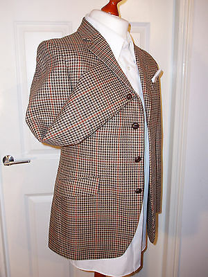 Vintage Tweed Blazer / Jacket 38R Pure Wool Lambourne Brown Leather Buttons