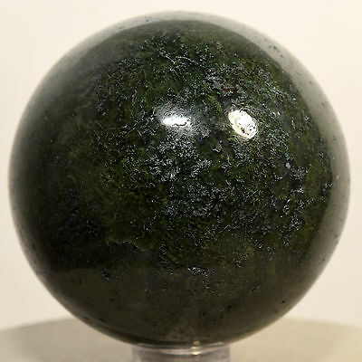 """2.1"""" Natural Rich Green MOSS AGATE Sphere Gemstone Crystal Mineral India + Stand"""