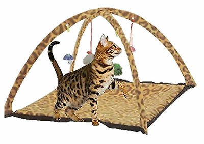 Leopard Print Cat Kitten Pet Activity Playing Tent Toy Bed Pad Mat House Bells