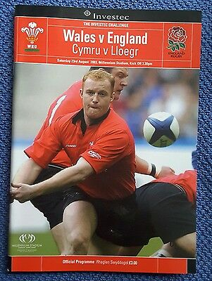 Wales v England World Cup Warm Up 23.08.2003 Rugby Programme