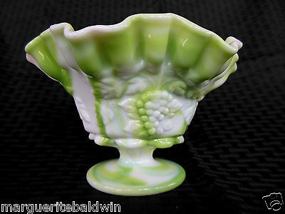 Westmoreland Glass Green Marble Slag Paneled Grape Crimped Open Candy Ftd Bowl