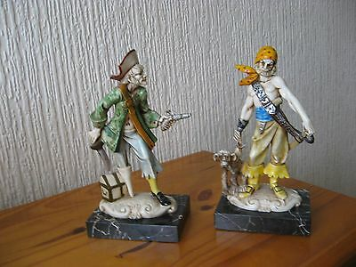Pair Of Carrara Marble Based Pirate Figures Italy