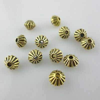 100pcs Tibetan Gold Double Cone Loose Spacer Beads Jewelry Beading 4x5mm