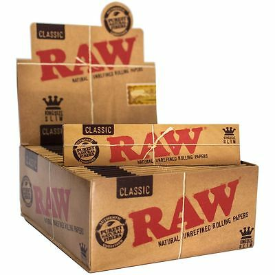 RAW CLASSIC King Size Slim 110mm Natural Unrefined Rolling Papers, 1-50 Booklets